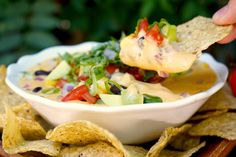 Vegan Loaded Queso Dip-Potato, onions, vegetable broth, and spices join together to create the perfect creamy base which you can then top with anything you want! Vegan Appetizers, Vegan Snacks, Vegan Foods, Vegan Meals, Vegan Vegetarian, Healthy Snacks, Mexican Food Recipes, Whole Food Recipes, Ethnic Recipes