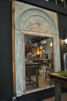 19th c. painted mirror with old paint