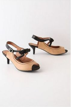 Anthropologie Black-Tie Kitten Heels Shoes Sizes 7.5-8-8.5-9-9.5, Miss Albright
