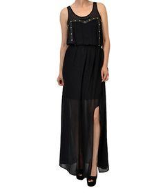Look what I found on #zulily! Black Studded Slit Sleeveless Maxi Dress by Potter's Pot #zulilyfinds