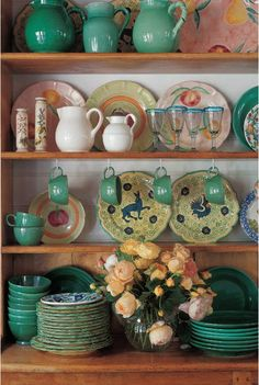 Country kitchens...need a way to amp up the dining room, maybe install floatin shelves and display the dishes that's way?