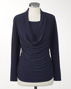 Cowl duet top in neo navy, golden topaz or deep pom. Long sleeves. Mid-hip length