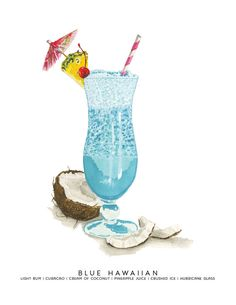 Blue Hawaiian MidCentury Cocktail Watercolor Print