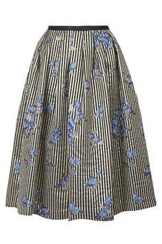 Floral Stripe Print Midi Skirt