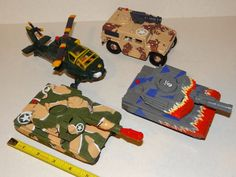 Lot of 4 MILITARY MUSCLE MEN VehiclesFigures 1994 OSFTM Tanks-Helicopter GI JOE