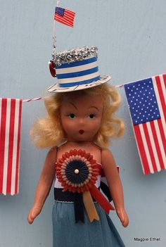 Vintage Style Patriotic Doll - Red, White and Blue Patriotic with Striped Hat