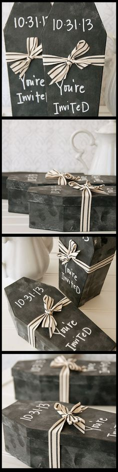 Chalkboard Coffin Invitation Project Send a hauntingly unique invitation for your next Halloween party!Send a hauntingly unique invitation for your next Halloween party! Theme Halloween, Halloween Party Invitations, Halloween Birthday, Halloween Projects, Halloween 2017, Holidays Halloween, Halloween Crafts, Happy Halloween, Halloween Decorations