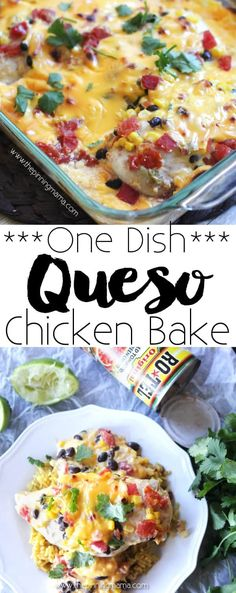 (lz) Queso Chicken Bake Recipe - One Dish + 10 minutes of prep + 5 ingredients = EASY & DELICIOUS dinner in no time! If you love Rotel cheese dip you will devour this recipe! Easy Baking Recipes, Easy Dinner Recipes, Easy Meals, Cooking Recipes, Dinner Ideas, Frugal Recipes, Healthy Recipes, Freezer Meals, Crockpot Recipes