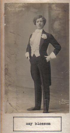 Postcard of May Blossom, popular British drag performer.
