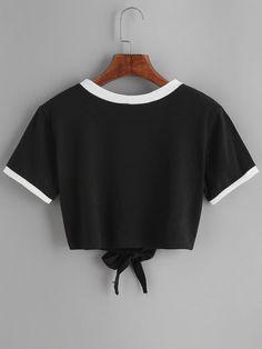Black Sun Print Contrast Trim Tie Front T-shirt