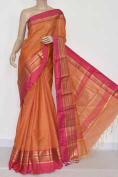 Orange Banarasi Cot-Silk Handloom Saree (With Running Blouse) 16135