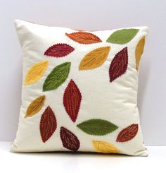 swirling leaves pillow cover for Autumn- rust, green, gold, burgundy and yellow appliqued leaves Diy Cushion Covers, Cushion Cover Designs, Pillow Cover Design, Pillow Covers, Diy Pillows, Decorative Pillows, Throw Pillows, Hand Embroidery Videos, Hand Embroidery Designs