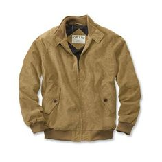 $220, Tan Suede Bomber Jacket: Orvis Suede Bomber Jacket. Sold by Orvis. Click for more info: https://lookastic.com/men/shop_items/277866/redirect