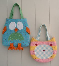 Melly and Me OWL and PUSSYCAT Child's Bag Sewing Pattern ABSD Australia. $12.00, via Etsy.