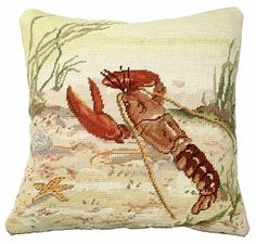 Lobster Needlepoint #Pillow buy at Seaside Beach #Decor