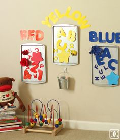 DIY Toddler Sorting Boards ((made from Dollar Tree cookie sheets!)) via Charming in Charlotte