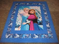 "Frozen Quilt - featuring Elsa on the side - 49"" X 57"" - Anna and Elsa in the middle - In Frozen Blue colors. by TheKingsQuiltShop on Etsy"