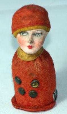 rare Antique FIGURAL~~FLAPPER WOMEN TAPE MEASURE.