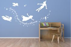 Peter Pan Second star to the right wall decal, stickers mural art kids room via Etsy