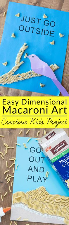 Easy Dimensional Macaroni Art for Kids - Get back to basics with this simple macaroni art project kids that uses dry noodles and colored paper to create a cool dimension effect. Free printable pattern. #BackToPlay #CollectiveBias #ad