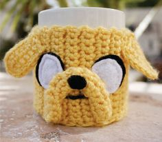 Items similar to Jake the Dog Inspired Coffee Mug Tea Cup Cozy: Adventure Time -ish Crochet Knit Sleeve on Etsy Crochet Coffee Cozy, Coffee Cup Cozy, Crochet Cozy, Dog Coffee, Love Crochet, Yarn Crafts, Diy Crafts, Jake The Dogs, Mug Rugs