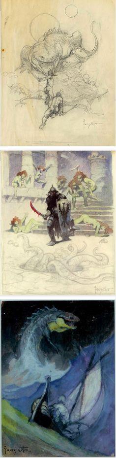 FRANK FRAZETTA - Preliminaries - Fighting Man of Mars - Death Dealer - Carson of Venus - prints by comicartfans.com