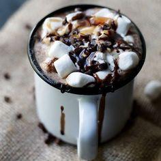 Hot Chocolate, Marshmallows, Chocolate & Caramel Sauce