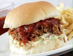 Yum! Little Porky Sliders with Coleslaw...just like Logan's Roadhouse!