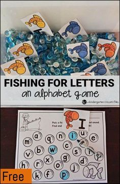 Grab a fish and find its match! Super fun alphabet game, with ideas for bin fillers for different ages too! #alphabet #alphabetgame #freeprintable #kindergarten #preschool