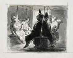 Shelter Scene  (art) Made by: Ardizzone, Edward Jeffrey Irving 1940  image: A view inside a shelter with two rows of sleeping civilians sitting on benches.