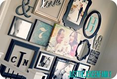 GREAT Photo wall with sources for wall decor.  Love!  Just the Jensen Family: DIY Gallery Wall