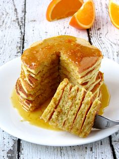 Fluffy Orange Ricotta Pancakes With Homemade Syrup | YummyAddiction.com