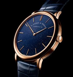 A. Lange & Söhne - Saxonia Thin in pink gold with gold flux dial | Time and Watches | The watch blog Favre Leuba, Apple Watch 1, Watch Blog, Hand Watch, Elegant Watches, Luxury Watches For Men, High Jewelry, Pink And Gold, Omega Watch