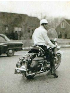 Elvis Presley on his 1957 Harley Davidson FLH motorcycle