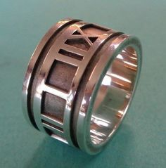 4fc9979ca Details about Tiffany & Co. Sterling Silver 1995 ATLAS ROMAN NUMERAL BAND -  Size 7 1/4 - 12 mm