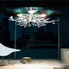 Decken Leuchte Beleuchtung Acryl Blatter Verchromt Wohnzimmer Lampe Luster Licht