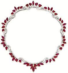 Ruby and diamond necklace. Via Diamonds in the Library. ruby jewelry Ruby and diamond necklace. Ruby Jewelry, Gems Jewelry, Diamond Jewelry, Fine Jewelry, Jewelry Necklaces, Jewelry Accessories, Jewellery Box, Jewellery Shops, Jewellery Display