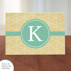 Personalized Initial Stationary // Flat Note Card // Vintage Yellow Stars // Customizable // PRINTABLE DIGITAL FILE by k8inked, $5.75
