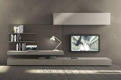 Sectional wall-mounted TV wall system I-modulArt - 277 - Presotto Industrie Mobili Tv Wall Design, Tv Unit Design, House Design, Living Room Wall Units, Living Room Designs, Living Room Decor, Living Rooms, Modern Tv Wall Units, Muebles Living