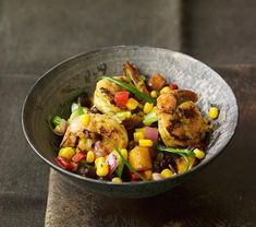 A hearty corn salad recipe that makes an easy dinner: Grilled Shrimp Salad with Black Beans and Corn | Yahoo Food
