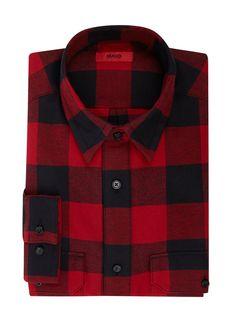 Bei ➧ P&C Freizeithemden von HUGO ✓ Jetzt HUGO Comfort Fit Flanellhemd aus Baumwolle in Rot online kaufen ✓ 4043849