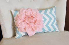 Chevron Lumbar Pillow Light Pink Dahlia on Blue and Natural Zig Zag Lumbar Pillow 9 x 16- Rustic Shabby Chic