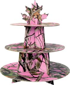 Pink Next Vista pink camo cupcake stand. This sturdy cardboard stand easily assembles to create a cupcake tower centerpiece for your pink camouflage baby shower, bridal shower or birthday party. Pink Camo Birthday, Pink Camo Party, Pink Camo Wedding, Camo Wedding Cakes, Cowgirl Wedding, Wedding Garters, Camp Wedding, Wedding Ideas, Wedding Dresses