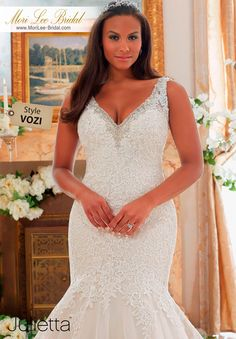 "STYLE VOZI  CRYSTAL BEADED EDGING MEETS EMBROIDERED LACE ON TULLE WITH SCALLOPED HEMLINE  Available in Three Lengths: 55"", 58"", 61"". Colors Available: White, Ivory, Ivory/Light Gold  #morilee #morileebridal"