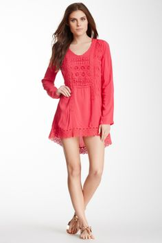 Monoreno Crochet Trim Tunic Dress on HauteLook