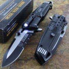 EMT EMS Folding Pocket Rescue Black Knife Serrated LED Light Tac-Force BRAND NEW #TacForce