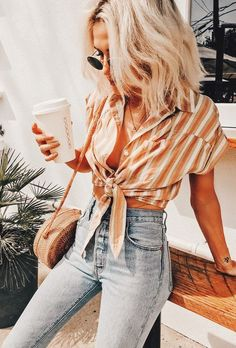 Striped Pocket Shirt - Women - 2000265841 - Forever 21 Canada English 50 Fall Outfit Ideas To Get Inspire Cute Outfits Lovely Fashion Street Style Outfits, Mode Outfits, Look Fashion, Fashion Beauty, Fashion Tips, Womens Fashion, Ladies Fashion, Fashion 2018, Fashion Ideas