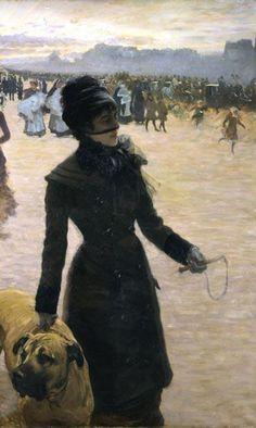 1878Giuseppe de Nittis (Italian, 1846-84) ~'Returning from the Bois de Boulogne, Lady with a Dog'