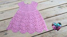 Princess dress crochet all sizes (english subtitles) 1/2 - YouTube Video