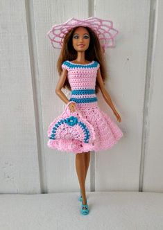 Crochet Patterns Dress Barbie clothes Barbie Crochet Dress for Barbie Doll, Crochet set, hat, handbag Crochet Barbie Patterns, Crochet Skirt Pattern, Crochet Doll Dress, Barbie Clothes Patterns, Crochet Barbie Clothes, Doll Clothes Barbie, Barbie Doll, Crochet Dresses, Dress Barbie